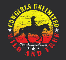 "Load image into Gallery viewer, (MBCG1194) ""Wild and Free"" Cowgirls Unlimited Adult T-Shirt"