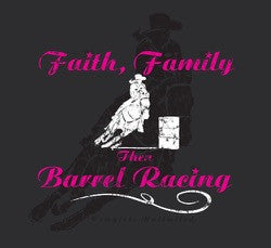 "(MBCH1892) ""Faith, Family, Barrel Racing"" Western Adult Christian T-Shirt"