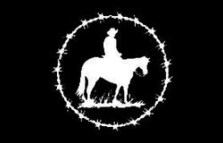 "(MBDV8114) ""Barbwire Ring with Cowboy"" High Performance Vinyl Decal"