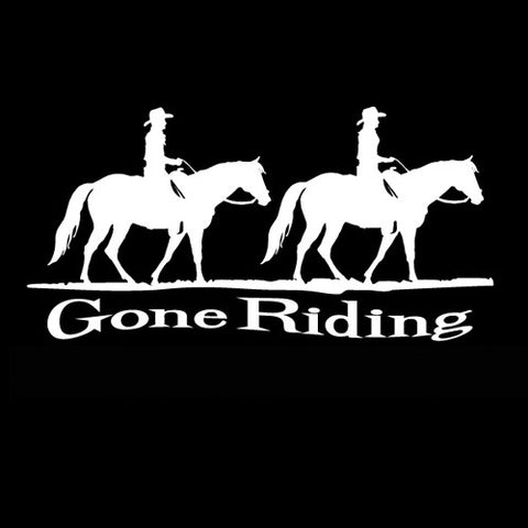 "(MBDV8163) ""Gone Riding - 2 Quarter Horses"" High Performance Vinyl Decal"