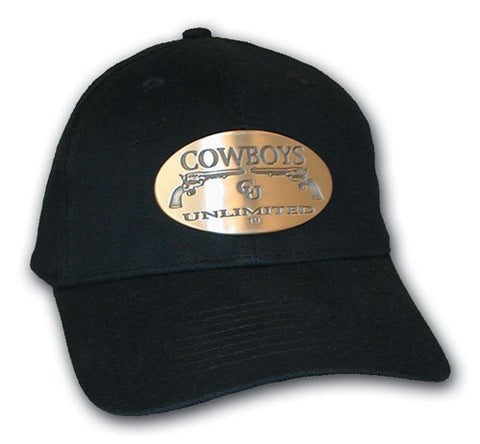 "(MBHC9011) ""Cowboys Unlimited"" Ball Cap with Metallic Buckle - Black"