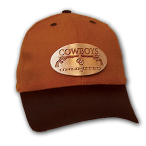 "(MBHC9012) ""Cowboys Unlimited"" Ball Cap with Metallic Buckle - Hazelnut & Black"