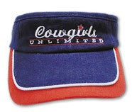 "(MBHC9031) ""Cowgirls Up"" Western Visor - Red, White & Blue"