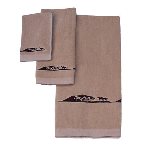 "(MBHW7302) ""Running Horse"" 3-Piece Embroidery Bath Towel Set"