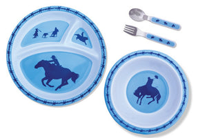 (MBHW9723) Blue Cowboys and Barbwire Dinner Set for Kids