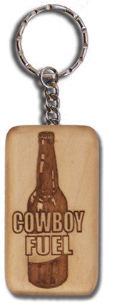 "(MBKC5062) ""Cowboy Fuel"" Wooden Key Chain"