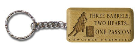 "(MBKC5063) ""Three Barrels, Two Hearts, One Passion"" Wooden Key Chain"