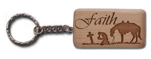 "(MBKC5069) ""Faith"" Wooden Key Chain"