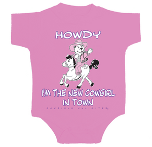 "(MBKDS2071) ""New Cowgirl In Town"" Western Creeper/Onsie"
