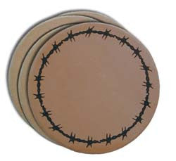 "(MBLC4009) ""Barbwire"" Leather Coaster Set (Set of 4)"