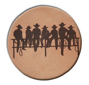 "(MBLC4058) ""Fence Sitters"" Leather Coaster Set (Set of 4)"