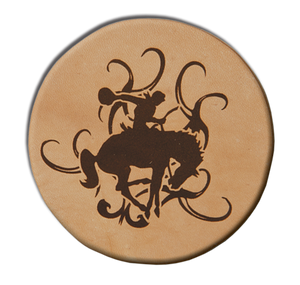 "(MBLC4070) ""Bucking Bronc"" Leather Coaster Set (Set of 4)"