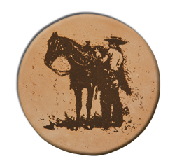 "(MBLC4071) ""Cowboy Saddling Up"" Leather Coaster Set (Set of 4)"