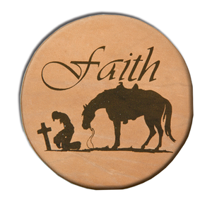 "(MBLC4072) ""Faith"" Leather Coaster Set (Set of 4)"