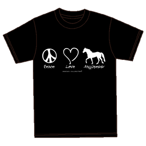 "(MBUH7562) ""Peace, Love, Happiness"" Horses Unlimited T-Shirt"