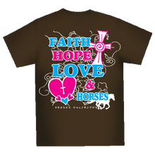 "Load image into Gallery viewer, (MBUH7593) ""Faith & Horses"" Horses Unlimited T-Shirt"