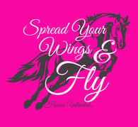 "(MBUH7632) ""Spread Your Wings and Fly"" Horses Unlimited Adult T-Shirt"