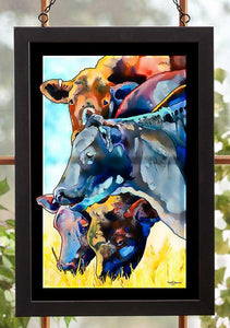 Merry Mooers - Cows Stained Glass Art