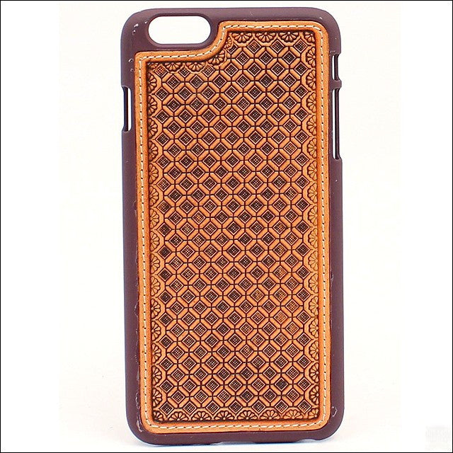 Western Leather iPhone6+ Case with Basket Weave Design