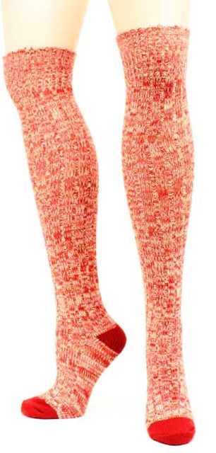 (MFA1001255004) Ladies' Over The Knee Socks Marbled Red
