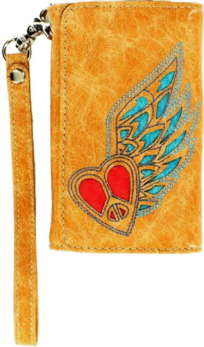 (MFW0614808) Western iPhone 4 Case/Wallet with Red Heart & Blue Wing