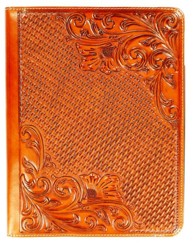 Western Tan Tooled & Basketweave Leather iPad Case