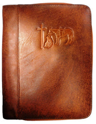 (MFW0650608) Western Leather Cowboy Praying Bible Cover