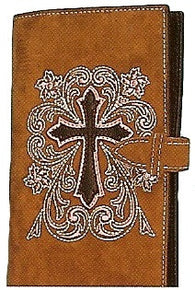 (MFW0651544) Western Leather Cowboy Travel Bible with Cross