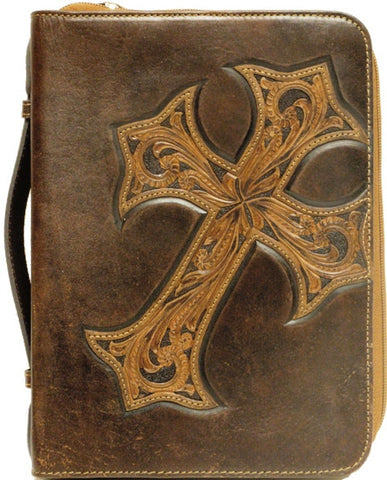 Western Brown Leather Bible Cover With Diagonal Cross
