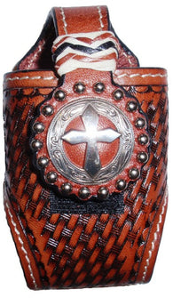 (MFW0681554S) Western Basketweave Cell Phone Holder with Cross Concho Italian Brown