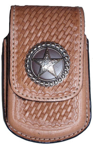 (MFW0682548) Western Basketweave Razor Cell Phone Holder with Star Concho