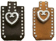 (MFW06860) Western iPhone4/PDA/Slide Cell Phone Holder with Heart Concho