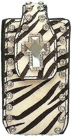 (MFW0687462) Western Exotic Zebra Hair-On Cell Phone Holder with Cross Concho