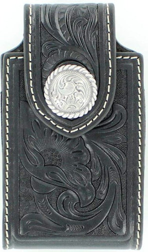 (MFW0688401) Western Black Tooled Cell Phone Holder with Swivel Belt Clip (for iPhone4 & Blackberry)