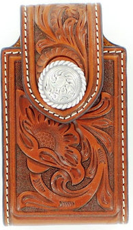 (MFW0688408) Western Tan Tooled Cell Phone Holder with Swivel Belt Clip (for iPhone4 & Blackberry)