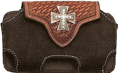 (MFW0689067) Western Black/Brown Cell Phone Holder with Cross Concho and Swivel Belt Clip (for iPhone & Blackberry)