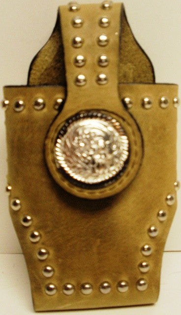 (MFW0689299-14) Western Tan Cell Phone Holder with Silver Concho for Flip Phones