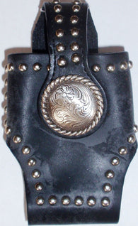 (MFW0689299-27) Western Black Leather Cell Phone Holder with Floral Silver Concho
