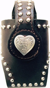 (MFW0689299-30) Western Black Cell Phone Holder with Heart Concho for Flip Phones