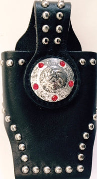 (MFW0689299-32) Western Black Cell Phone Holder with Round Silver Concho for Flip Phones
