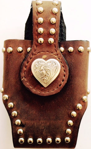 (MFW0689299-40) Western Brown Distressed Cell Phone Holder with Heart for Flip Phones