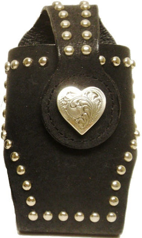 (MFW0689299BKHT) Western Black Cell Phone Holder with Heart Concho