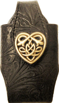 (MFW0689299BKSCHT) Western Black Cell Phone Holder with Scroll Heart Concho