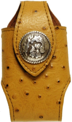 (MFW0689299ODTPC) Western Distressed Tan Ostrich Print Cell Phone Holder with Pewter Floral Concho