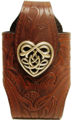 (MFW0689299THC) WesternTan Floral Tooled Cell Phone Holder with Heart Concho
