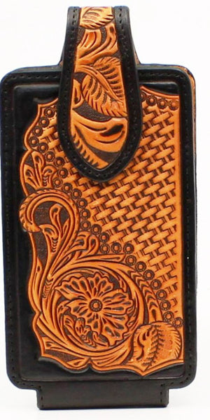 buy popular a4823 f9a74 Western Tooled Leather Cell Phone Holder - Fits iPhone 8 Plus