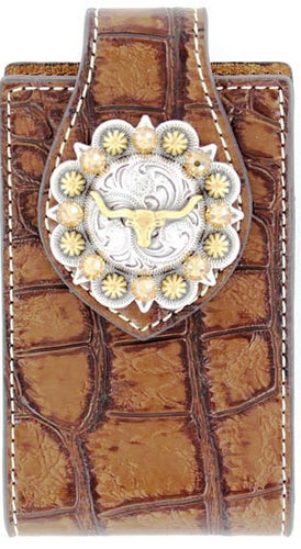 (MFW0689402) Western Brown Croc Cell Phone Holder with Longhorn Concho (for iPhone 5 & Blackberry)