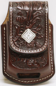 (MFW0689899AFTDC) Western Antique Mahogany Floral Tooled Cell Phone Holder for Razor with Diamond Shaped Silver Concho