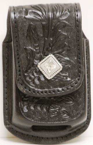 (MFW0689899BFTDC) Western Black Floral Tooled Cell Phone Holder for Razor with Diamond Shaped Silver Concho