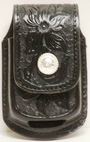 (MFW0689899BFTRC) Western Black Floral Tooled Cell Phone Holder for Razor with Round Silver Concho